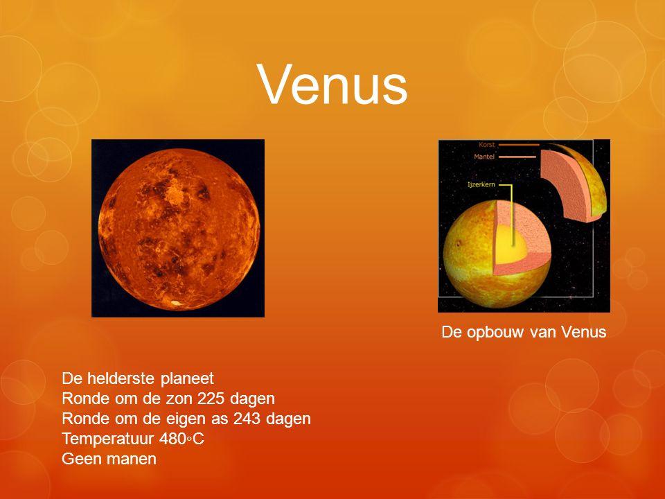 Venus De opbouw van Venus De helderste planeet Ronde om de zon 225 dagen Ronde om de eigen as 243 dagen Temperatuur 480◦C Geen manen