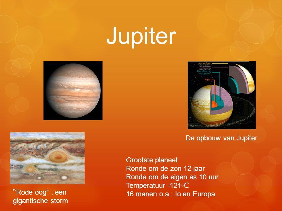 """Jupiter De opbouw van Jupiter Grootste planeet Ronde om de zon 12 jaar Ronde om de eigen as 10 uur Temperatuur -121 ◦C 16 manen o.a.: Io en Europa """" R"""