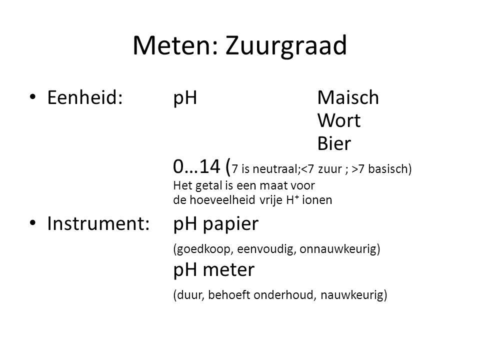 Meten: Zuurgraad Eenheid: pHMaisch Wort Bier 0…14 ( 7 is neutraal; 7 basisch) Het getal is een maat voor de hoeveelheid vrije H⁺ ionen Instrument:pH p