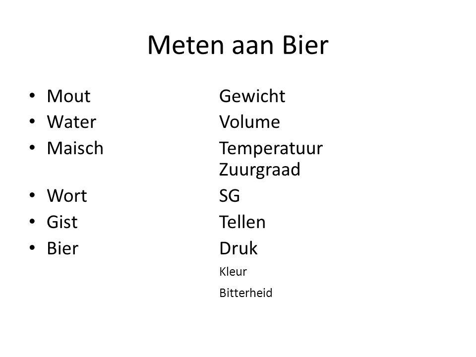 Meten aan Bier MoutGewicht WaterVolume MaischTemperatuur Zuurgraad WortSG GistTellen BierDruk Kleur Bitterheid