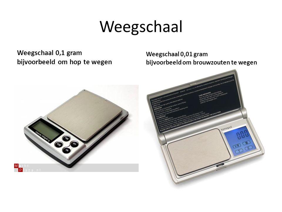 Weegschaal Weegschaal 0,1 gram bijvoorbeeld om hop te wegen Weegschaal 0,01 gram bijvoorbeeld om brouwzouten te wegen
