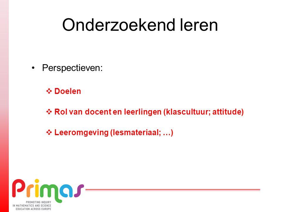 Onderzoekend leren Perspectieven:  Doelen  Rol van docent en leerlingen (klascultuur; attitude)  Leeromgeving (lesmateriaal; …)