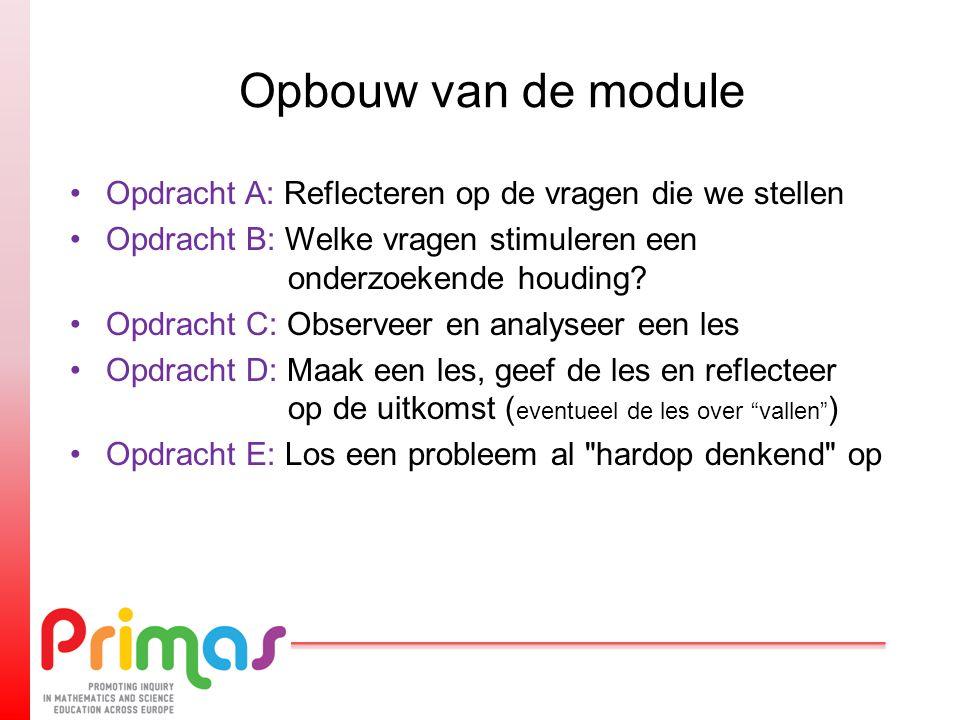 Opbouw van de module Opdracht A: Reflecteren op de vragen die we stellen Opdracht B: Welke vragen stimuleren een onderzoekende houding? Opdracht C: Ob