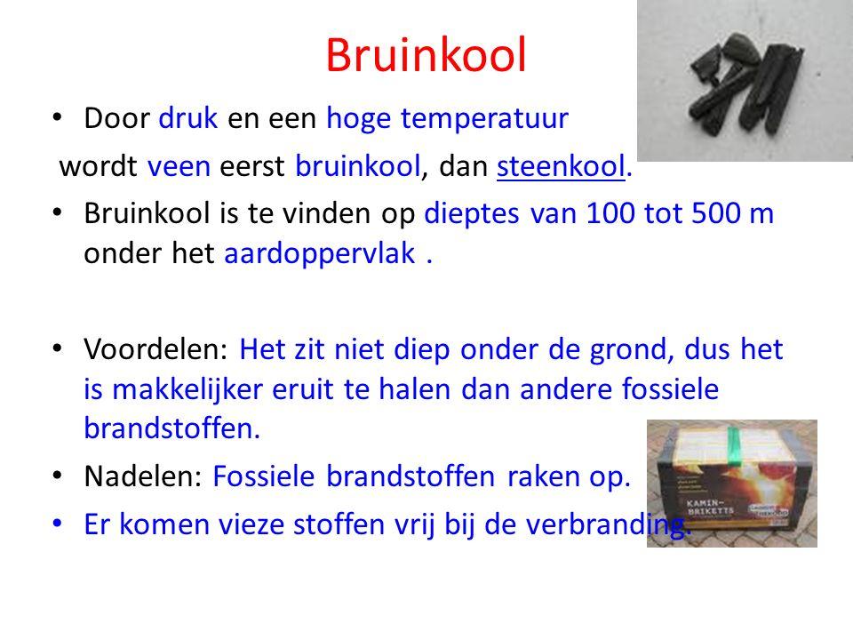 Bruinkool Door druk en een hoge temperatuur wordt veen eerst bruinkool, dan steenkool.steenkool Bruinkool is te vinden op dieptes van 100 tot 500 m onder het aardoppervlak.