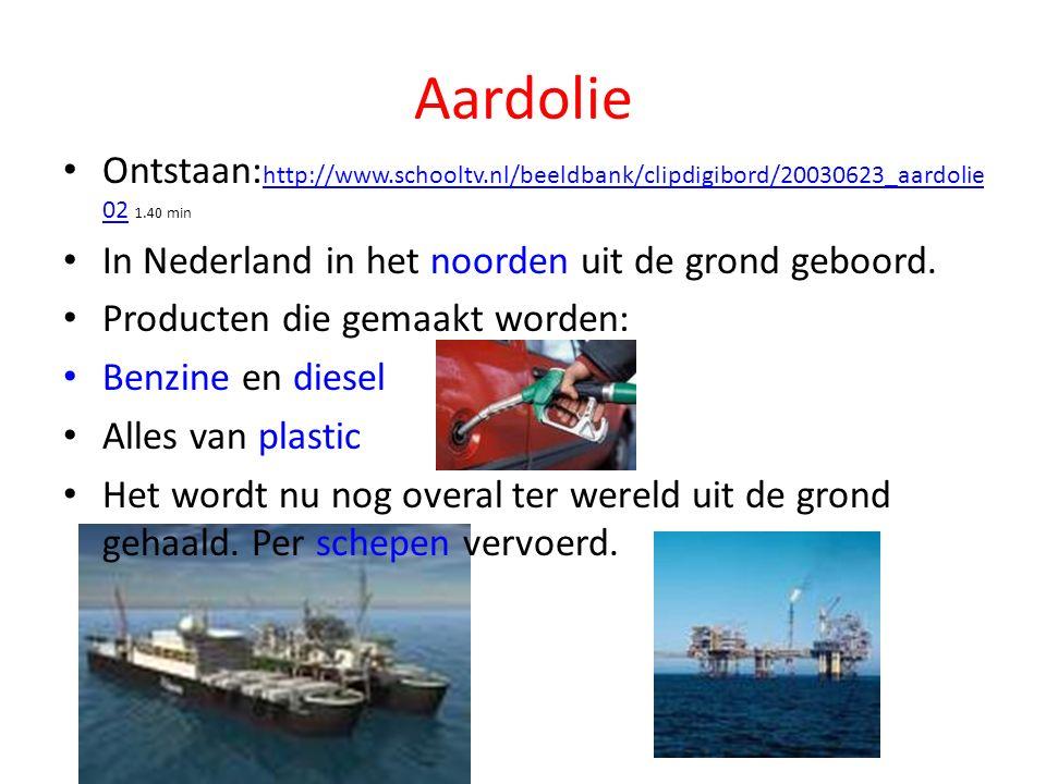 Aardolie Ontstaan: http://www.schooltv.nl/beeldbank/clipdigibord/20030623_aardolie 02 1.40 min http://www.schooltv.nl/beeldbank/clipdigibord/20030623_aardolie 02 In Nederland in het noorden uit de grond geboord.