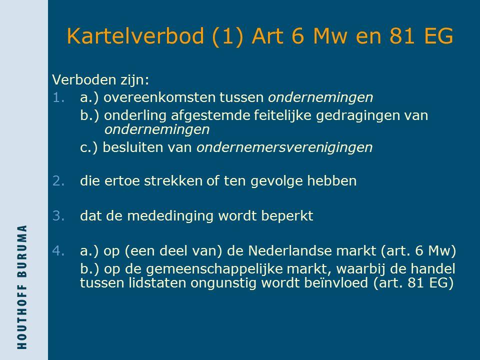Kartelverbod (1) Art 6 Mw en 81 EG Verboden zijn: 1.a.) overeenkomsten tussen ondernemingen b.) onderling afgestemde feitelijke gedragingen van ondernemingen c.) besluiten van ondernemersverenigingen 2.die ertoe strekken of ten gevolge hebben 3.dat de mededinging wordt beperkt 4.a.) op (een deel van) de Nederlandse markt (art.