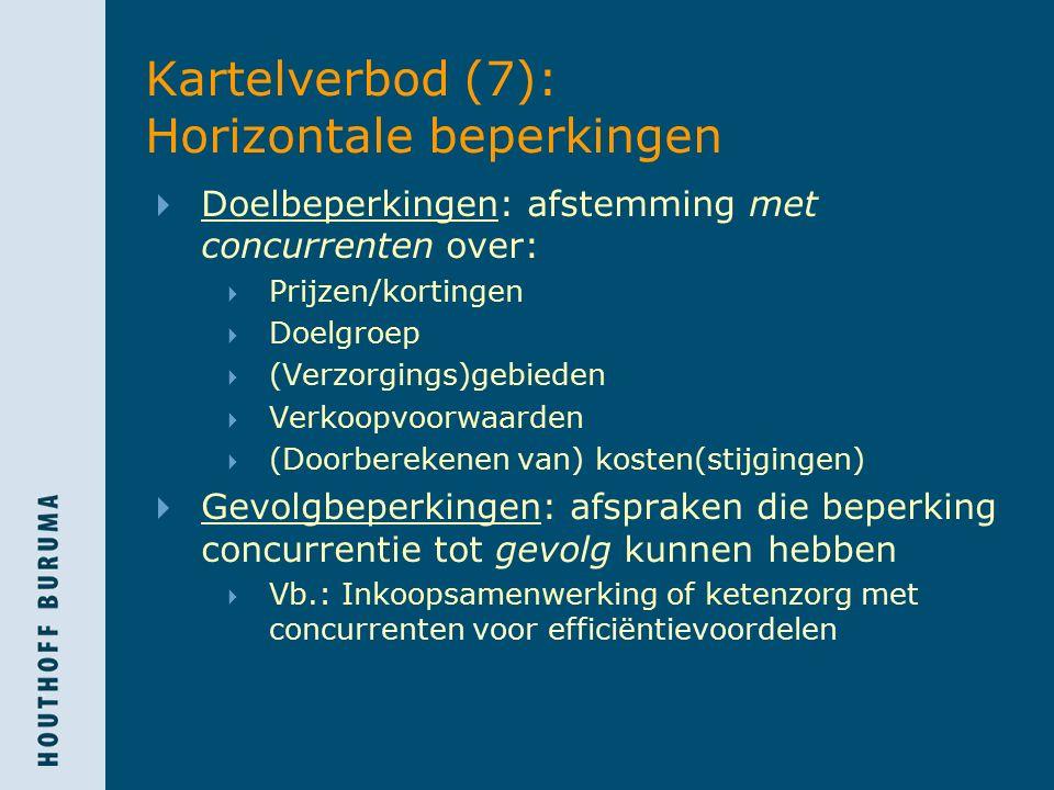 Kartelverbod (7): Horizontale beperkingen  Doelbeperkingen: afstemming met concurrenten over:  Prijzen/kortingen  Doelgroep  (Verzorgings)gebieden  Verkoopvoorwaarden  (Doorberekenen van) kosten(stijgingen)  Gevolgbeperkingen: afspraken die beperking concurrentie tot gevolg kunnen hebben  Vb.: Inkoopsamenwerking of ketenzorg met concurrenten voor efficiëntievoordelen