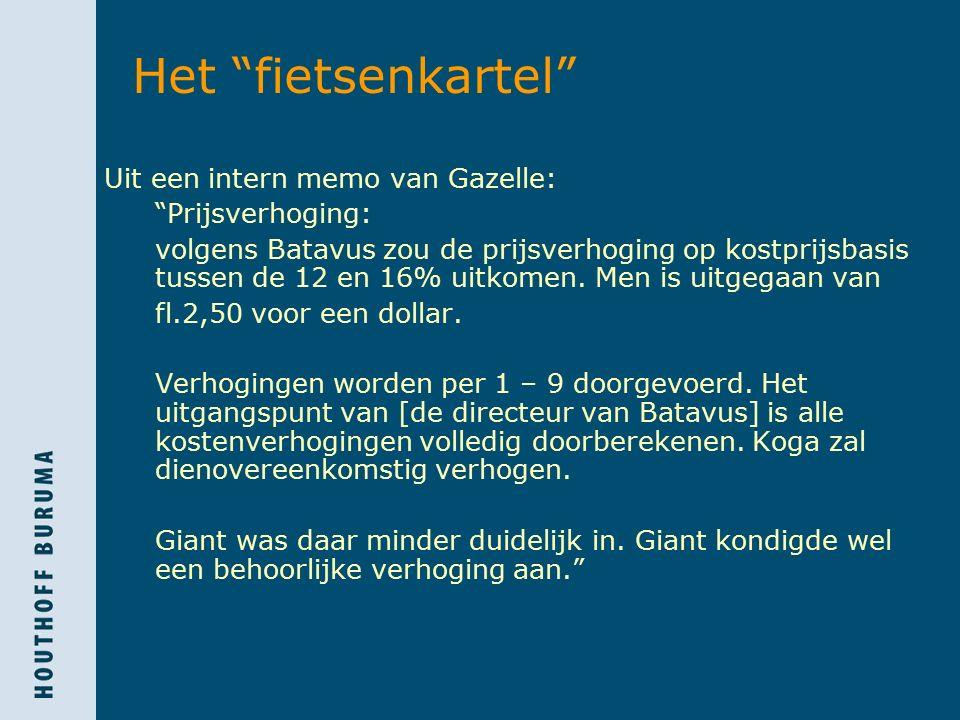 Het fietsenkartel Uit een intern memo van Gazelle: Prijsverhoging: volgens Batavus zou de prijsverhoging op kostprijsbasis tussen de 12 en 16% uitkomen.
