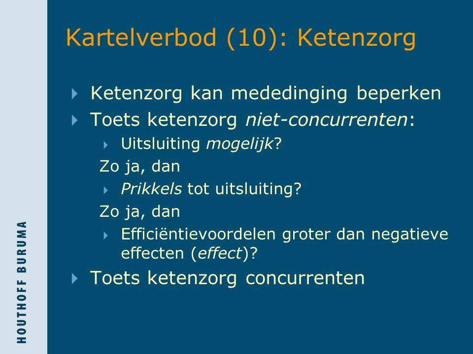 Kartelverbod (10): Ketenzorg  Ketenzorg kan mededinging beperken  Toets ketenzorg niet-concurrenten:  Uitsluiting mogelijk? Zo ja, dan  Prikkels t