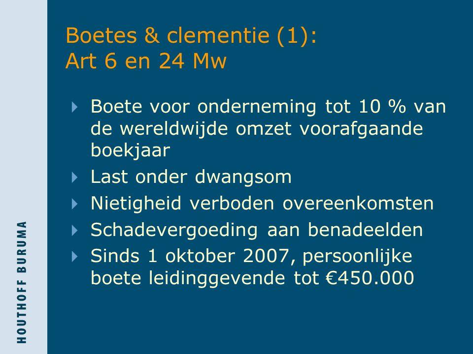 Boetes & clementie (1): Art 6 en 24 Mw  Boete voor onderneming tot 10 % van de wereldwijde omzet voorafgaande boekjaar  Last onder dwangsom  Nietigheid verboden overeenkomsten  Schadevergoeding aan benadeelden  Sinds 1 oktober 2007, persoonlijke boete leidinggevende tot €450.000