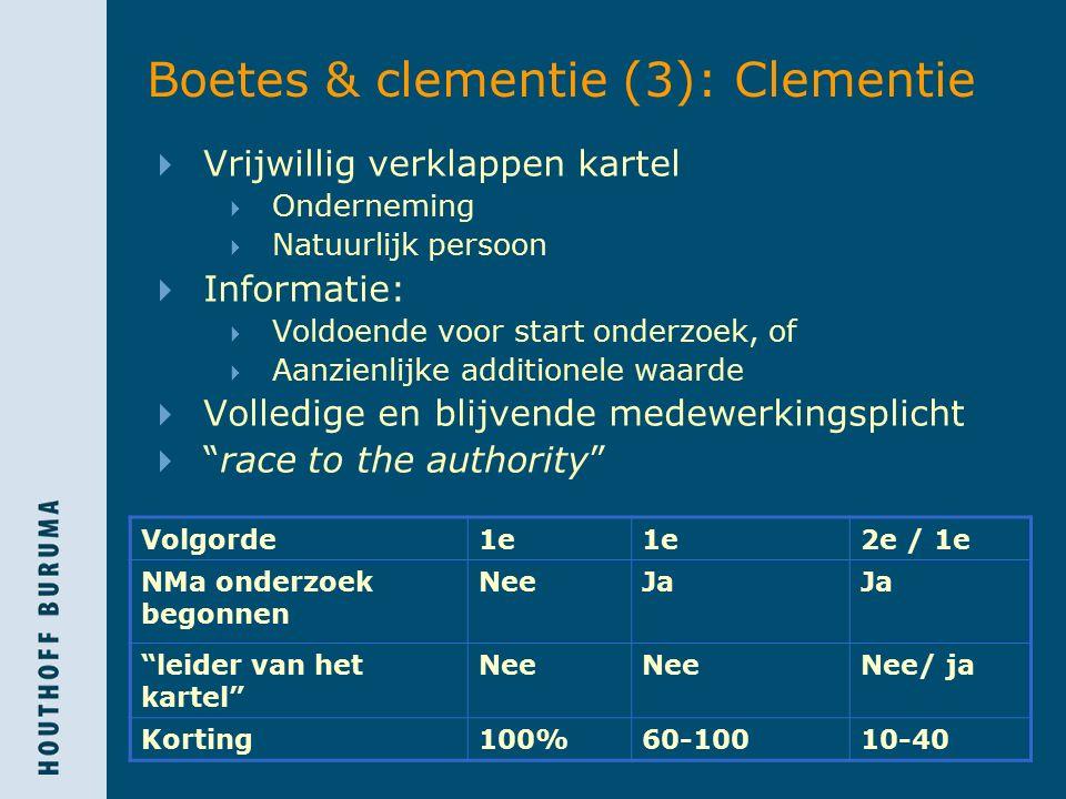 Boetes & clementie (3): Clementie  Vrijwillig verklappen kartel  Onderneming  Natuurlijk persoon  Informatie:  Voldoende voor start onderzoek, of