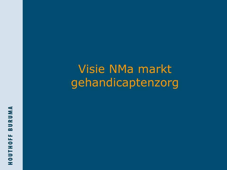 Visie NMa markt (1)  Relevante markt:  Productmarkt  Intramurale AWBZ-zorg  Extramurale AWBZ-zorg  Geografische markt  Lokaal  Gemeente  Verzorgingsgebied  Zorgkantoorregio (ZKR)  Groter?