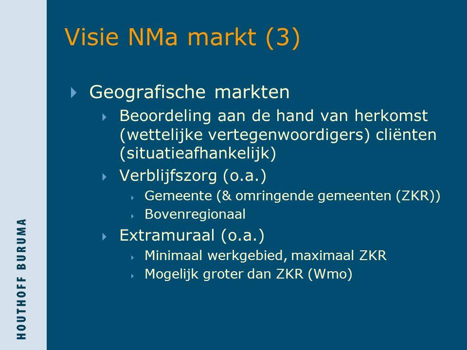 Visie NMa markt (3)  Geografische markten  Beoordeling aan de hand van herkomst (wettelijke vertegenwoordigers) cliënten (situatieafhankelijk)  Ver