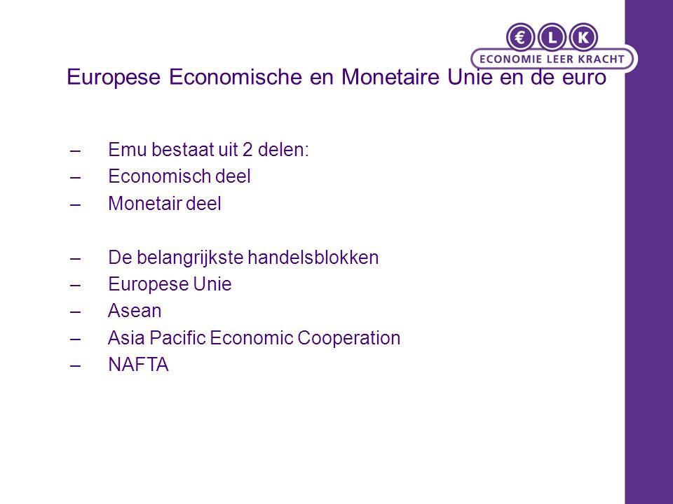 Europese Economische en Monetaire Unie en de euro –Emu bestaat uit 2 delen: –Economisch deel –Monetair deel –De belangrijkste handelsblokken –Europese Unie –Asean –Asia Pacific Economic Cooperation –NAFTA