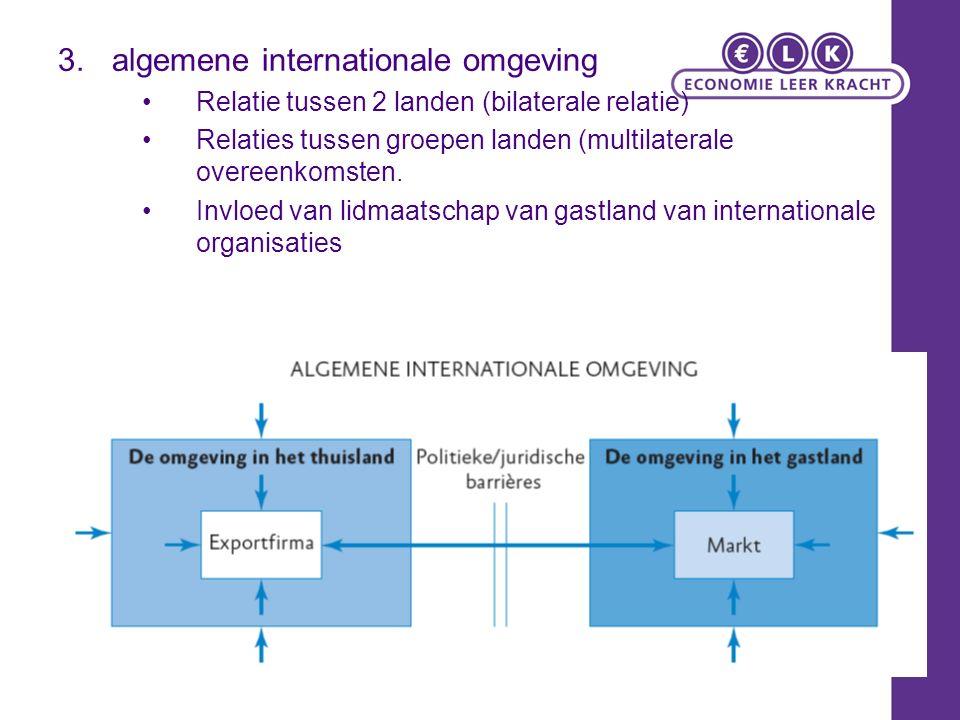 3.algemene internationale omgeving Relatie tussen 2 landen (bilaterale relatie) Relaties tussen groepen landen (multilaterale overeenkomsten.