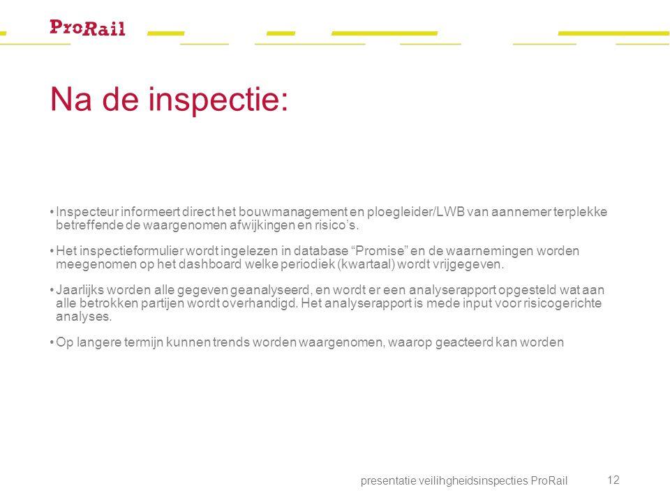Na de inspectie: presentatie veilihgheidsinspecties ProRail 12 Inspecteur informeert direct het bouwmanagement en ploegleider/LWB van aannemer terplekke betreffende de waargenomen afwijkingen en risico's.