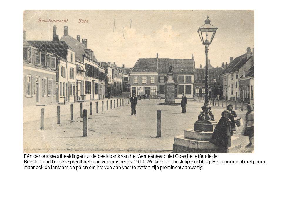 Eén der oudste afbeeldingen uit de beeldbank van het Gemeentearchief Goes betreffende de Beestenmarkt is deze prentbriefkaart van omstreeks 1910.