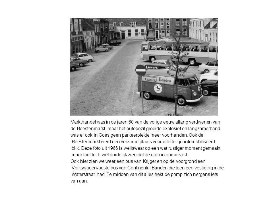 Markthandel was in de jaren 60 van de vorige eeuw allang verdwenen van de Beestenmarkt, maar het autobezit groeide explosief en langzamerhand was er ook in Goes geen parkeerplekje meer voorhanden.