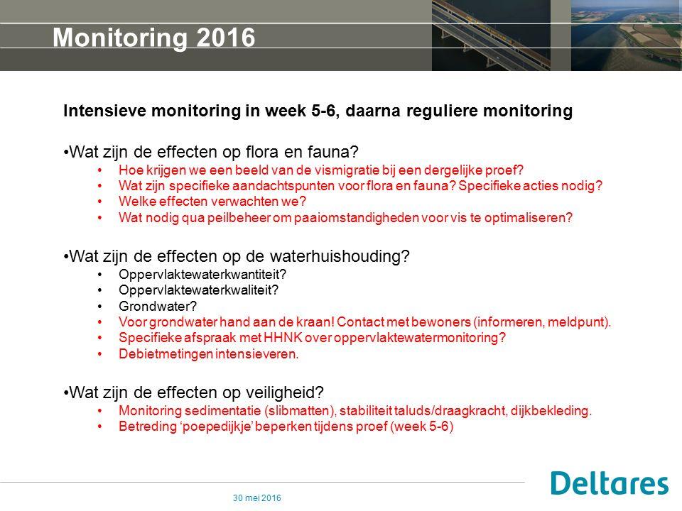 30 mei 2016 Monitoring 2016 Intensieve monitoring in week 5-6, daarna reguliere monitoring Wat zijn de effecten op flora en fauna.