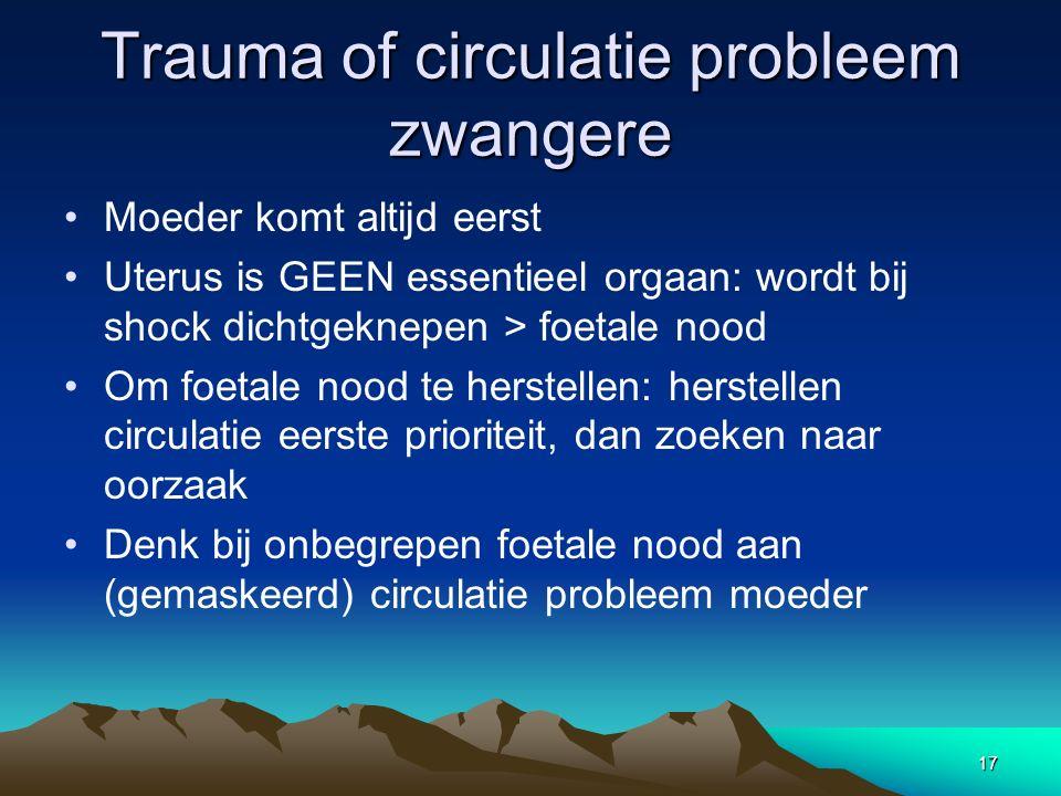 Trauma of circulatie probleem zwangere Moeder komt altijd eerst Uterus is GEEN essentieel orgaan: wordt bij shock dichtgeknepen > foetale nood Om foet