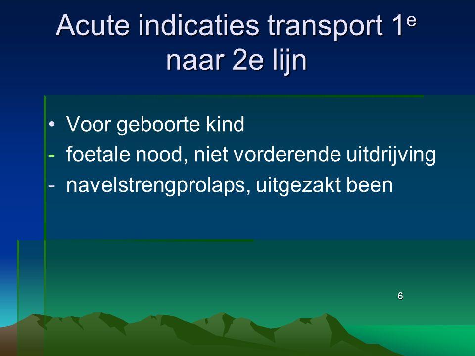 6 Acute indicaties transport 1 e naar 2e lijn Voor geboorte kind -foetale nood, niet vorderende uitdrijving -navelstrengprolaps, uitgezakt been