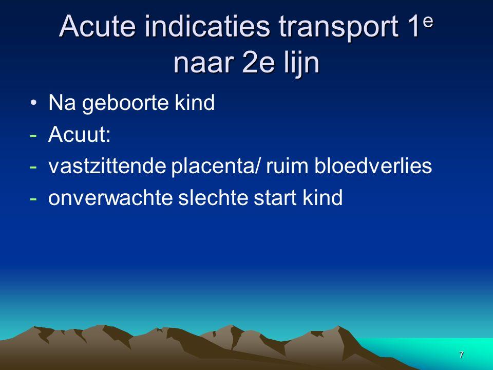 7 Acute indicaties transport 1 e naar 2e lijn Na geboorte kind -Acuut: -vastzittende placenta/ ruim bloedverlies -onverwachte slechte start kind