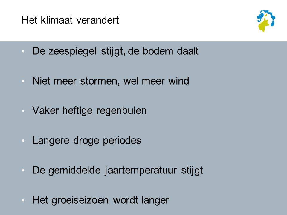 Het klimaat verandert De zeespiegel stijgt, de bodem daalt Niet meer stormen, wel meer wind Vaker heftige regenbuien Langere droge periodes De gemiddelde jaartemperatuur stijgt Het groeiseizoen wordt langer