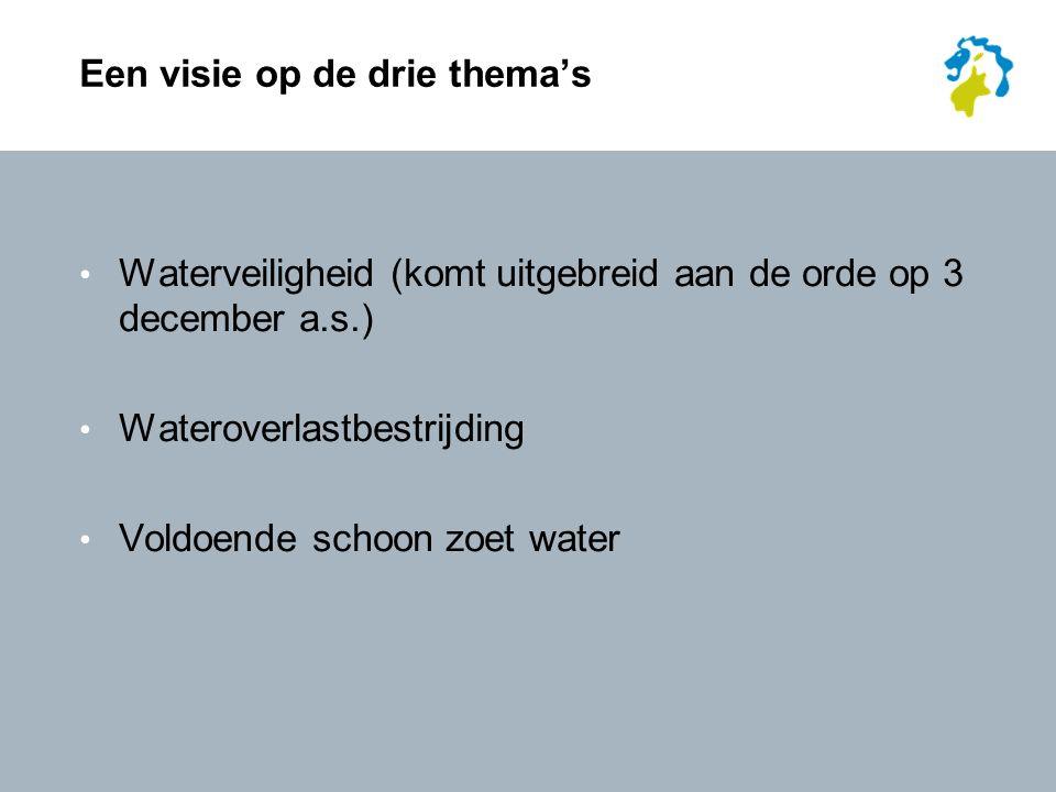 Een visie op de drie thema's Waterveiligheid (komt uitgebreid aan de orde op 3 december a.s.) Wateroverlastbestrijding Voldoende schoon zoet water