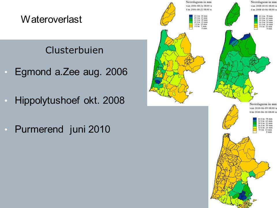 Wateroverlast Egmond a.Zee aug. 2006 Hippolytushoef okt. 2008 Purmerend juni 2010 Clusterbuien