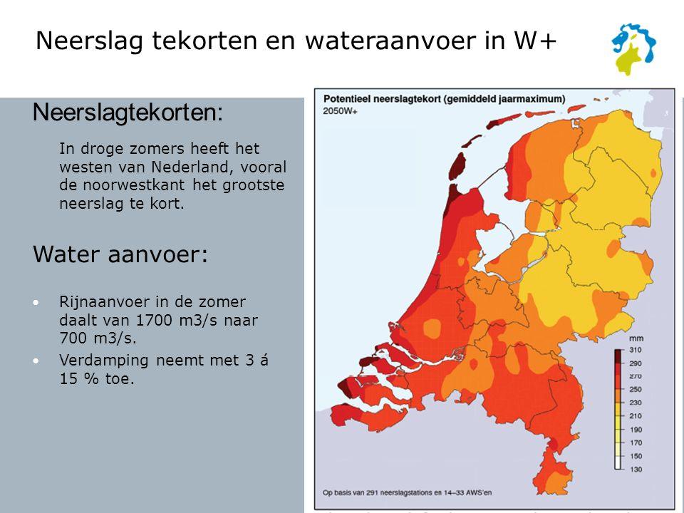 Neerslagtekorten: In droge zomers heeft het westen van Nederland, vooral de noorwestkant het grootste neerslag te kort.