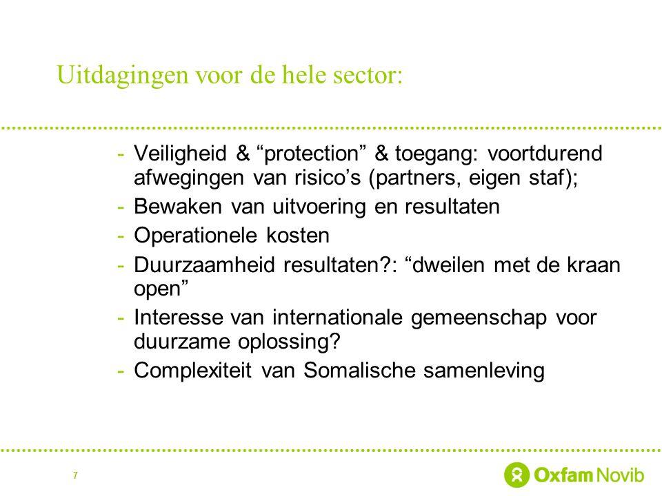 7 Uitdagingen voor de hele sector: -Veiligheid & protection & toegang: voortdurend afwegingen van risico's (partners, eigen staf); -Bewaken van uitvoering en resultaten -Operationele kosten -Duurzaamheid resultaten : dweilen met de kraan open -Interesse van internationale gemeenschap voor duurzame oplossing.