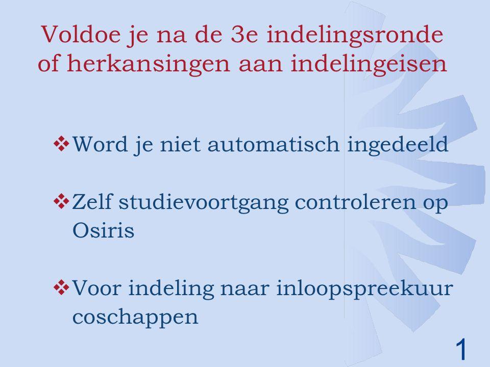 1 Voldoe je na de 3e indelingsronde of herkansingen aan indelingeisen  Word je niet automatisch ingedeeld  Zelf studievoortgang controleren op Osiris  Voor indeling naar inloopspreekuur coschappen