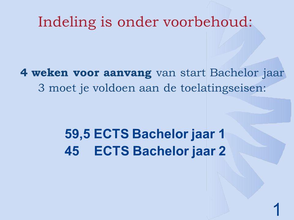 1 Indeling is onder voorbehoud: 4 weken voor aanvang van start Bachelor jaar 3 moet je voldoen aan de toelatingseisen: 59,5 ECTS Bachelor jaar 1 45ECTS Bachelor jaar 2