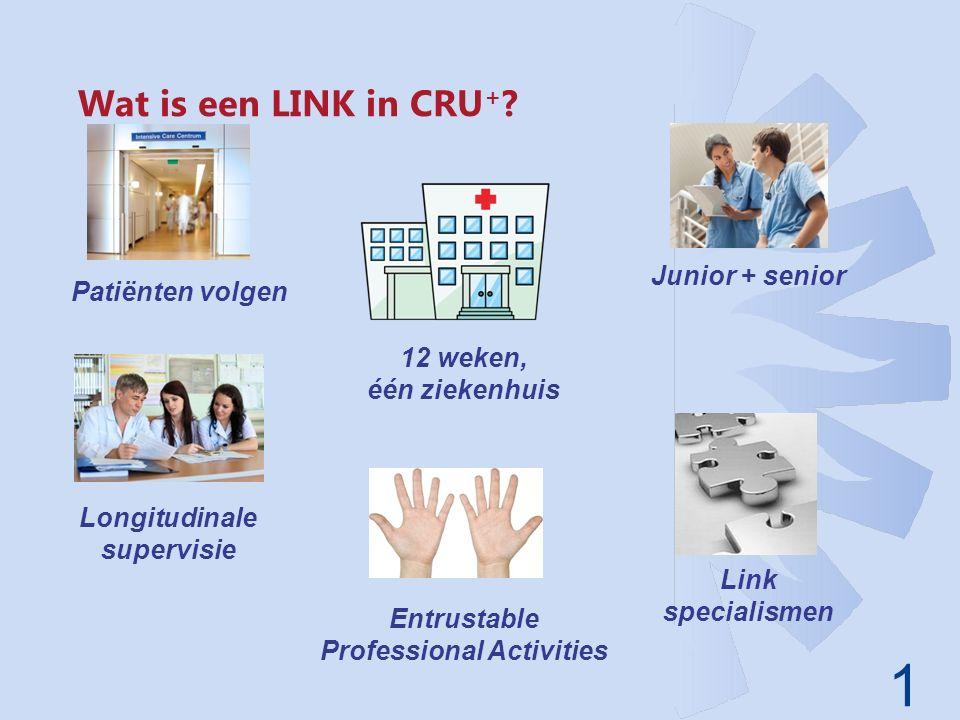 1 Wat is een LINK in CRU + ? Junior + senior 12 weken, één ziekenhuis Entrustable Professional Activities Longitudinale supervisie Patiënten volgen Li
