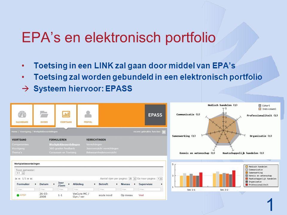 1 EPA's en elektronisch portfolio Toetsing in een LINK zal gaan door middel van EPA's Toetsing zal worden gebundeld in een elektronisch portfolio  Systeem hiervoor: EPASS