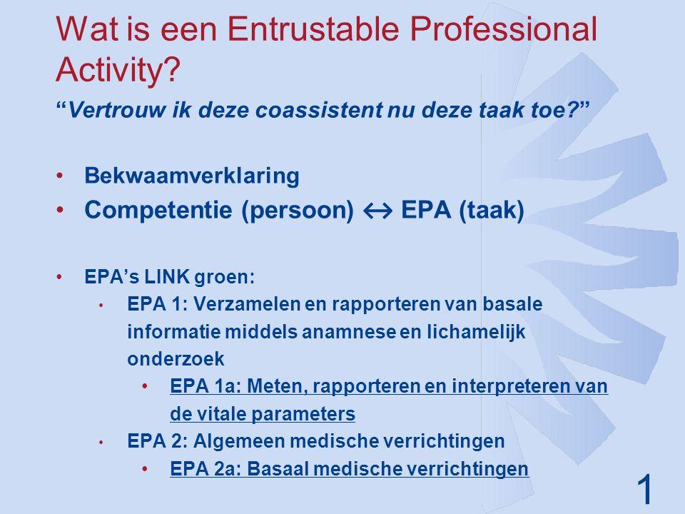"""1 Wat is een Entrustable Professional Activity? """"Vertrouw ik deze coassistent nu deze taak toe?"""" Bekwaamverklaring Competentie (persoon) ↔ EPA (taak)"""