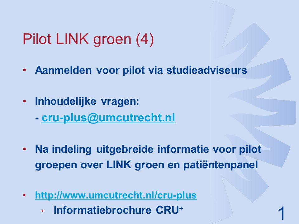 1 Pilot LINK groen (4) Aanmelden voor pilot via studieadviseurs Inhoudelijke vragen: - cru-plus@umcutrecht.nl cru-plus@umcutrecht.nl Na indeling uitgebreide informatie voor pilot groepen over LINK groen en patiëntenpanel http://www.umcutrecht.nl/cru-plus Informatiebrochure CRU +