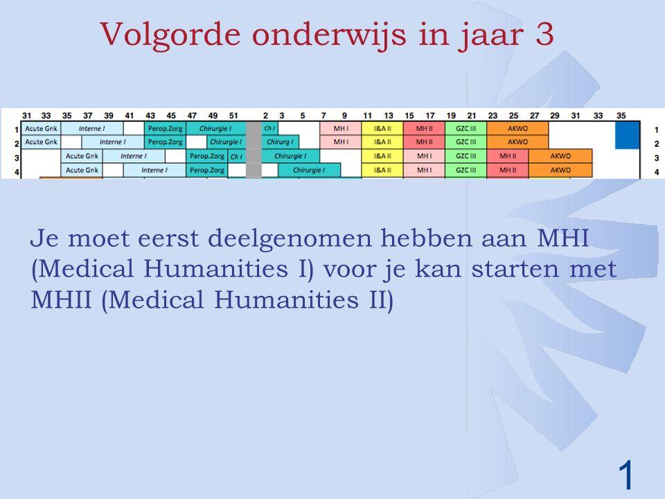 1 Volgorde onderwijs in jaar 3 Je moet eerst deelgenomen hebben aan MHI (Medical Humanities I) voor je kan starten met MHII (Medical Humanities II)