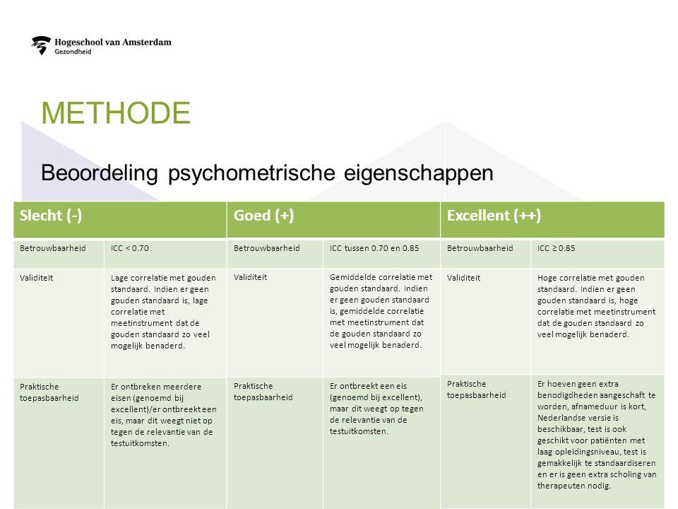 METHODE Beoordeling psychometrische eigenschappen Slecht (-) BetrouwbaarheidICC < 0.70 ValiditeitLage correlatie met gouden standaard.