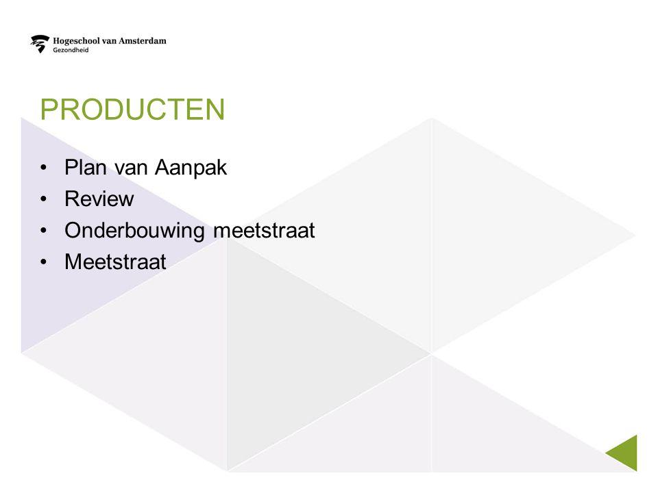 PROCESVERLOOP Voorinformatie opzoeken Plan van aanpak Meetinstrumenten m.b.t.
