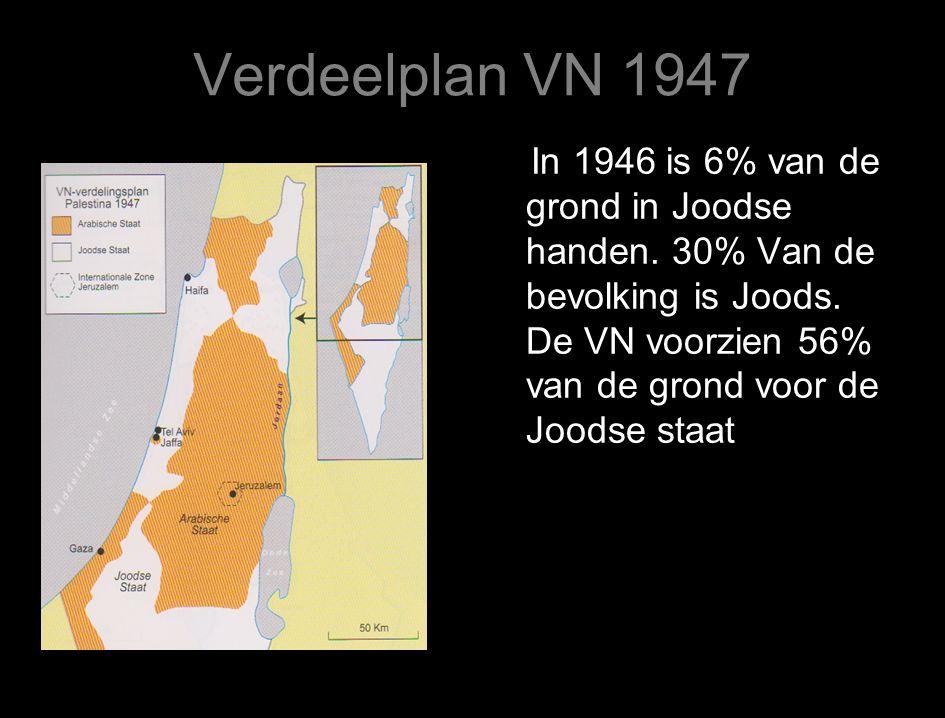 Verdeelplan VN 1947 In 1946 is 6% van de grond in Joodse handen.
