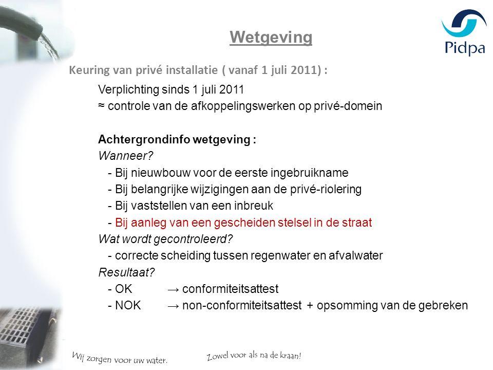Wetgeving Keuring van privé installatie ( vanaf 1 juli 2011) : Verplichting sinds 1 juli 2011 ≈ controle van de afkoppelingswerken op privé-domein Achtergrondinfo wetgeving : Wanneer.