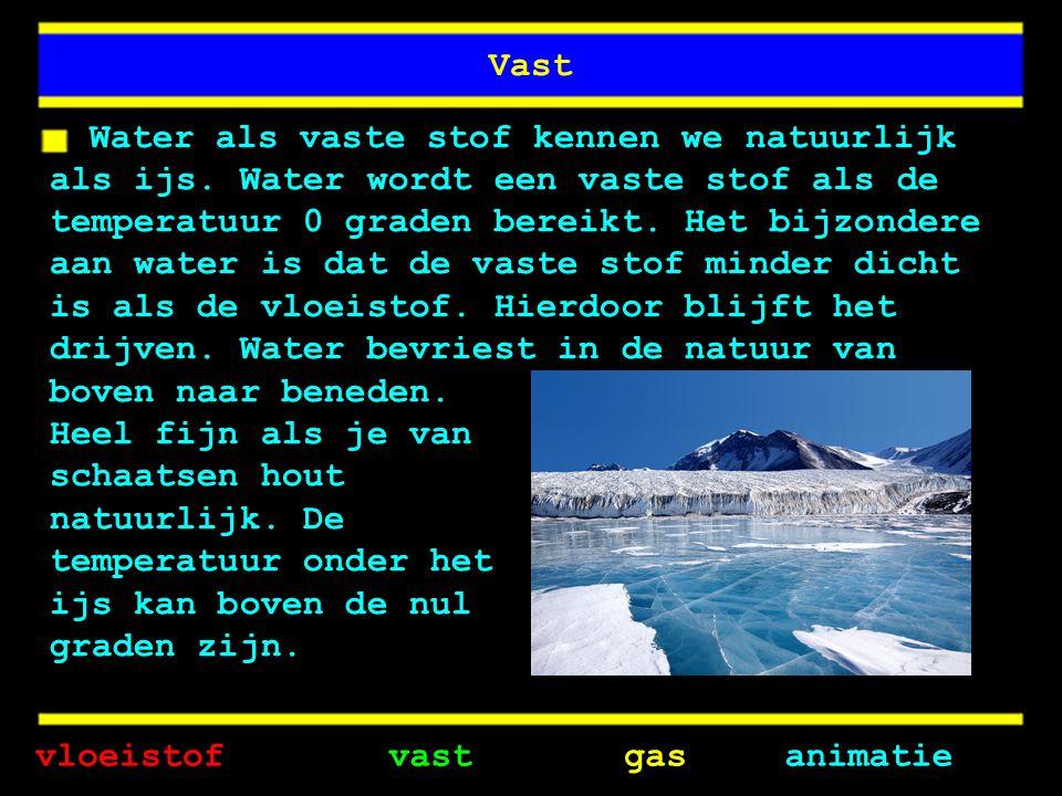 Vast Water als vaste stof kennen we natuurlijk als ijs.