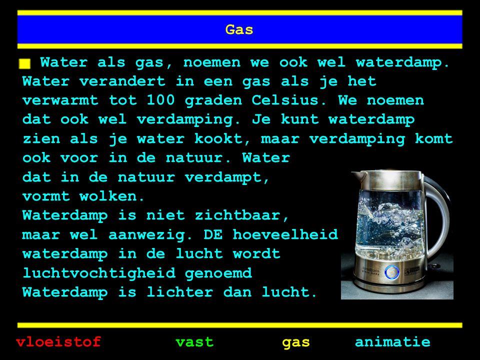Gas Water als gas, noemen we ook wel waterdamp.