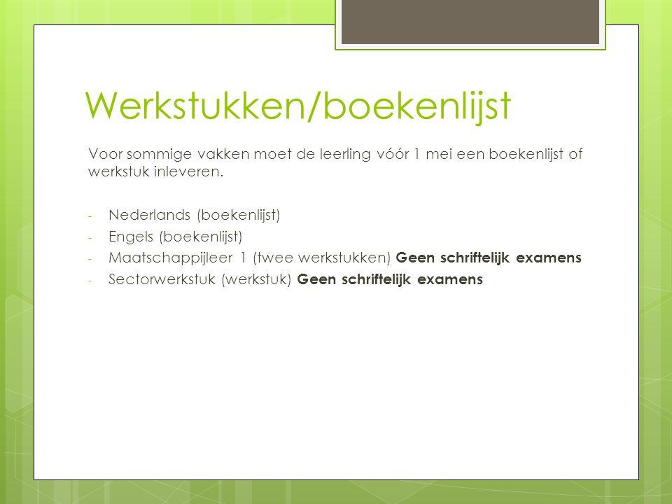 Werkstukken/boekenlijst Voor sommige vakken moet de leerling vóór 1 mei een boekenlijst of werkstuk inleveren.