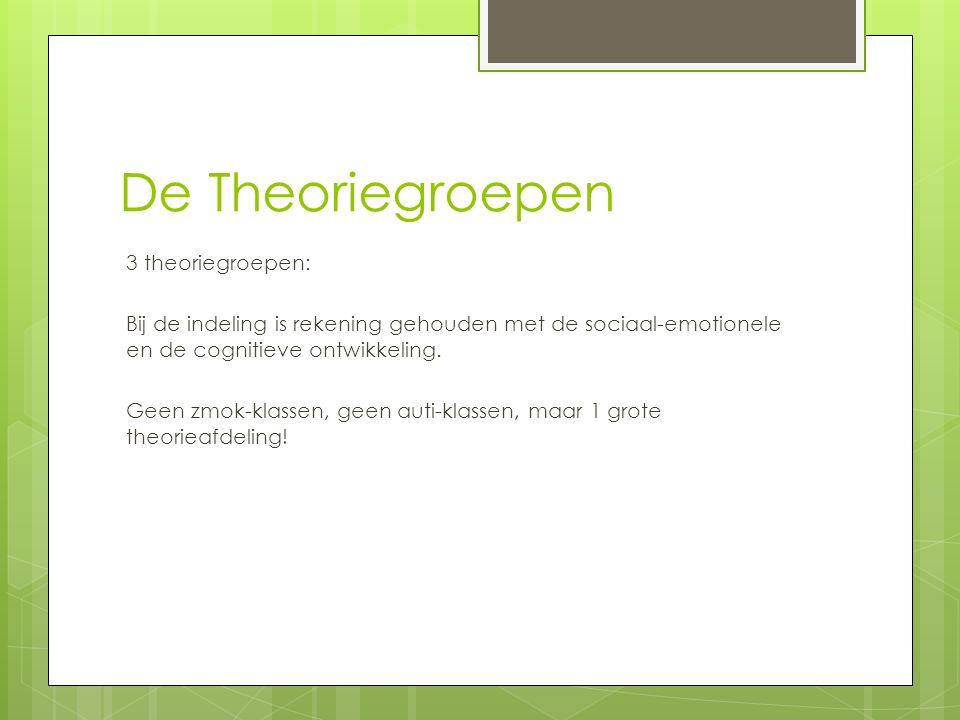 De Theoriegroepen 3 theoriegroepen: Bij de indeling is rekening gehouden met de sociaal-emotionele en de cognitieve ontwikkeling. Geen zmok-klassen, g