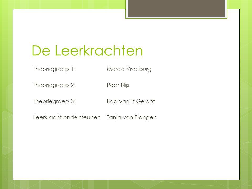 De Leerkrachten Theoriegroep 1: Marco Vreeburg Theoriegroep 2:Peer Blijs Theoriegroep 3:Bob van 't Geloof Leerkracht ondersteuner: Tanja van Dongen
