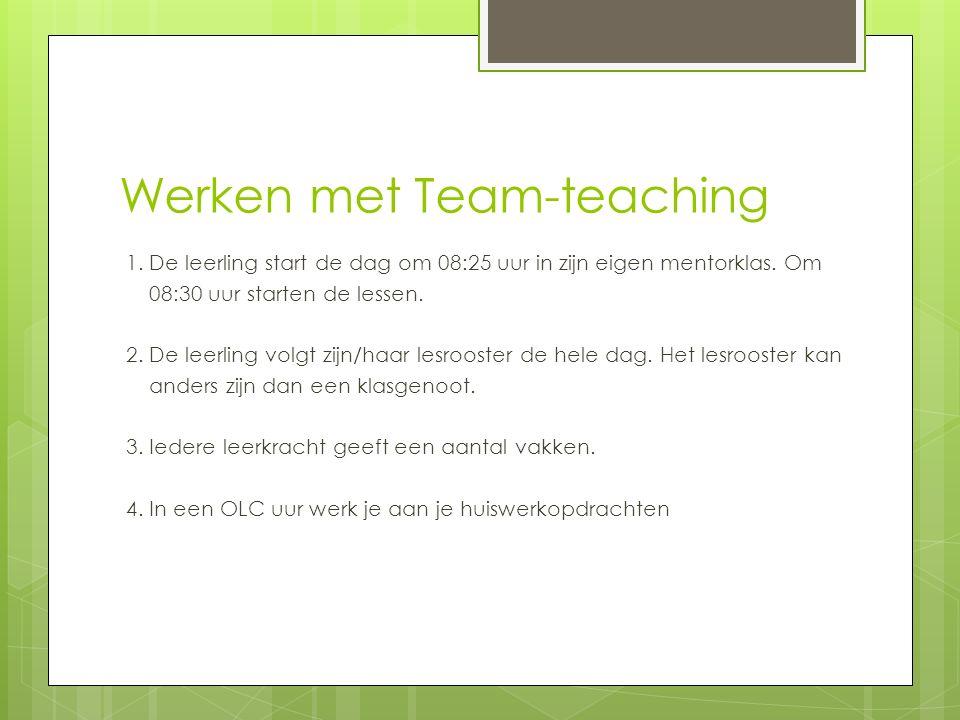 Werken met Team-teaching 1.De leerling start de dag om 08:25 uur in zijn eigen mentorklas.