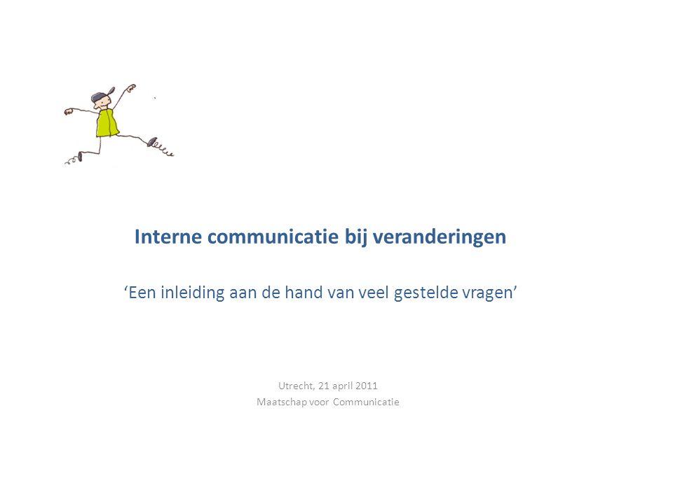 Even voorstellen Monica Wigman Maatschap voor communicatie Interne communicatie bij veranderingen -> Verandercommunicatie Adviesopdrachten: TNT, LNV, VWS, Flevoziekenhuis, Brandweer, Enexis Workshops, colleges, artikelen, boek…..