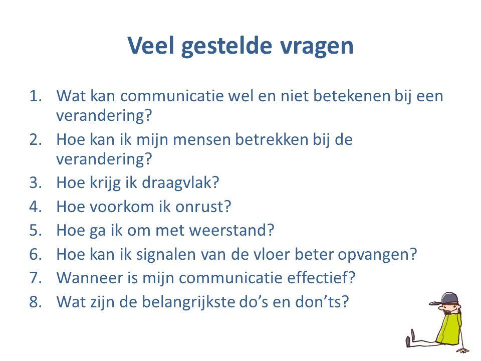 Veel gestelde vragen 1.Wat kan communicatie wel en niet betekenen bij een verandering.